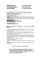 Délibération du conseil municipal approuvant la modification n° 1