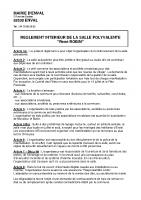 Règlement Intérieur + Tarifs